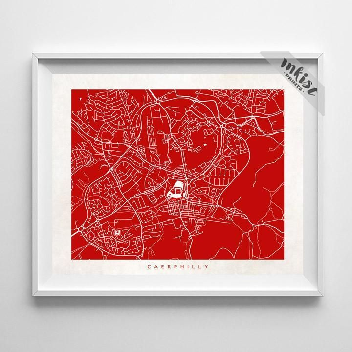Caerphilly, South Wales Street Map Print