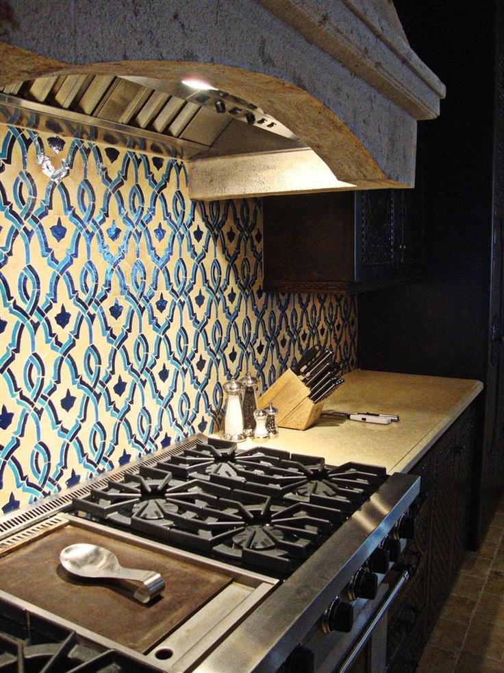 46 best blue white tiled kitchen images on pinterest for Blue moroccan tile backsplash