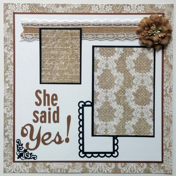 Engagement scrapbook page  Premade scrapbook page by ohioscrapper