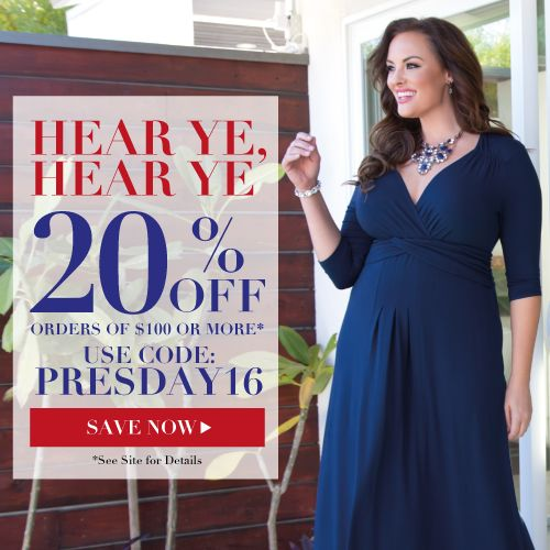 #President'sDaySale President's Day Sale! 20% off Orders of $100 or more at Kiyonna from February 11-17, 2016 using code PRESDAY16. #PLUSSIZECLOTHING #KIYONNA #KIYONNAfASHIONS #PLANETGOLDILOCKS #FASHIONS