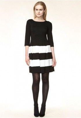 Hallhuber Jerseykleid schwarz/weiss