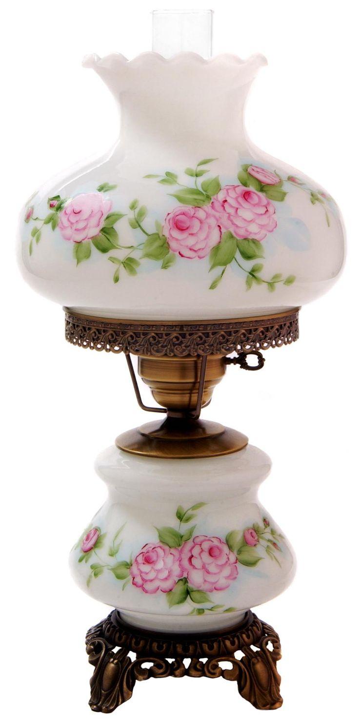 Victorian night lamps - Pink Red Roses Medium Hurricane Night Light Table Lamp