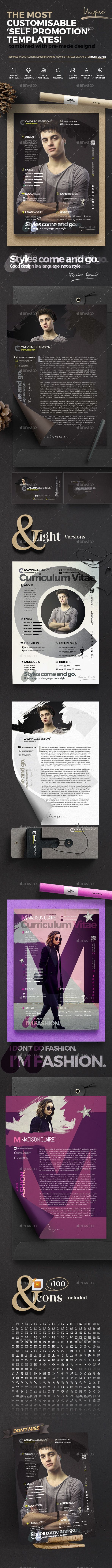 The Curriculum Vitae - Self Promotion Templates - #Resumes Stationery