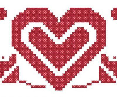 punto croce cuore tirolese