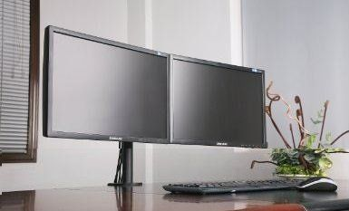 "Amazon.com : Dual Monitor Stand holds monitors up to 27"" widescreen. Uses standard Vesa mount. Clamps to Desk. : Computer Monitor Stands : Office Products"