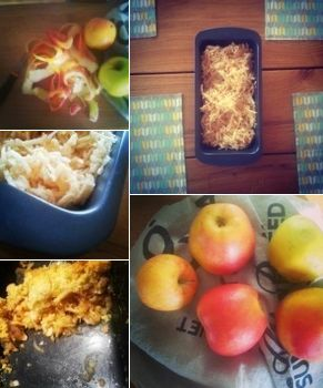 Making crumble with apples on Sunday.