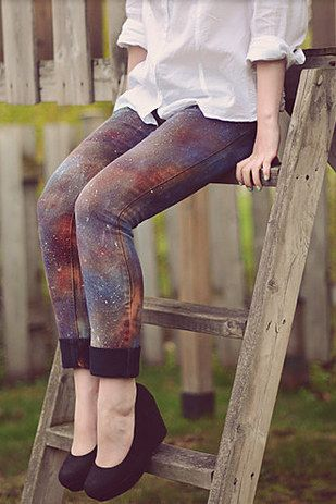 Take your jeans to an intergalactic level with DIY galaxy pants. | 30 Hella Easy Ways To Seriously Transform Your Old Jeans