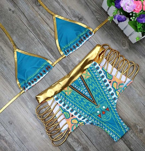New African Print Two-Pieces Bath Suits Bikini Set Sexy Geometric Swimwear Swimsuit Gold High Waist Swimming Suit