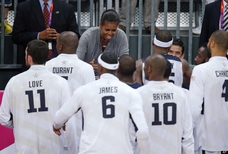 First Lady Michelle Obama congratulates members of Team USA after defeating France in a preliminary men's basketball game at the 2012 Summer Olympics - Funky Olympians 2012 - FUNK GUMBO RADIO: http://www.live365.com/stations/sirhobson and https://www.funkgumbo.com