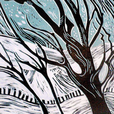 'Winter' linocut by Patricia Latham. http://www.afterthebauhaus.com/ Tags: Linocut, Cut, Print, Linoleum, Lino, Carving, Block, Woodcut, Helen Elstone, Snow, Trees.