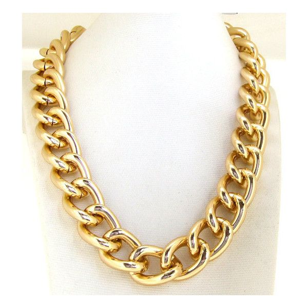 """Heavy Shiny Smooth GOLD chain Chunky Curb Chain Necklace 18"""" Strong Clasp chain necklace, choker necklace, gold chain necklace, fashion"""
