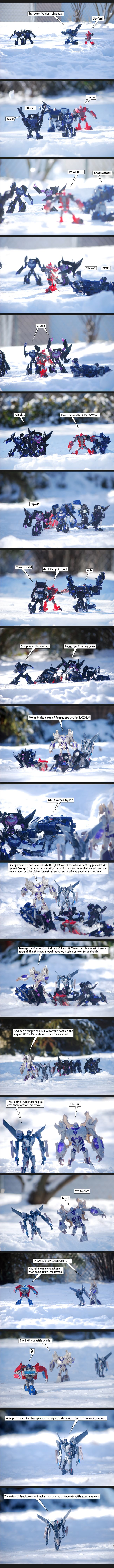 Snowball Fight by The-Starhorse.deviantart.com - This girl is so great with all her Transformers figures! :D