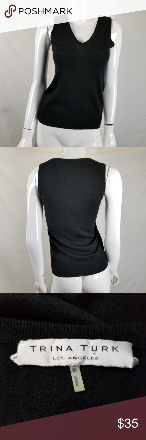 """Trina Turk Tank Top Black Silk Cashmere Blend Trina Turk Tank Top Black Silk Cashmere Blend Blouse V Neck Sz M Sleeveless  Excellent Condition!  Please see pictures for additional details.  Measurements (all approximate with garment laying flat)  Size: M Bust: 16.5"""" Length: 24""""  Ship within 24 hours  All items are cross-posted, if they sell on another platform I will delete this listing. All items are shipped securely packed. Trina Turk Tops Tank Tops"""