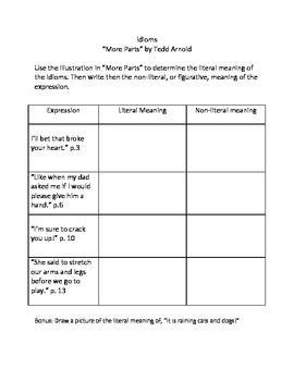 This worksheet helps student distinguish between literal