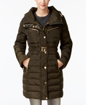 Michael Michael Kors Faux-Fur-Collar Hooded Down Puffer Coat - Green XXL