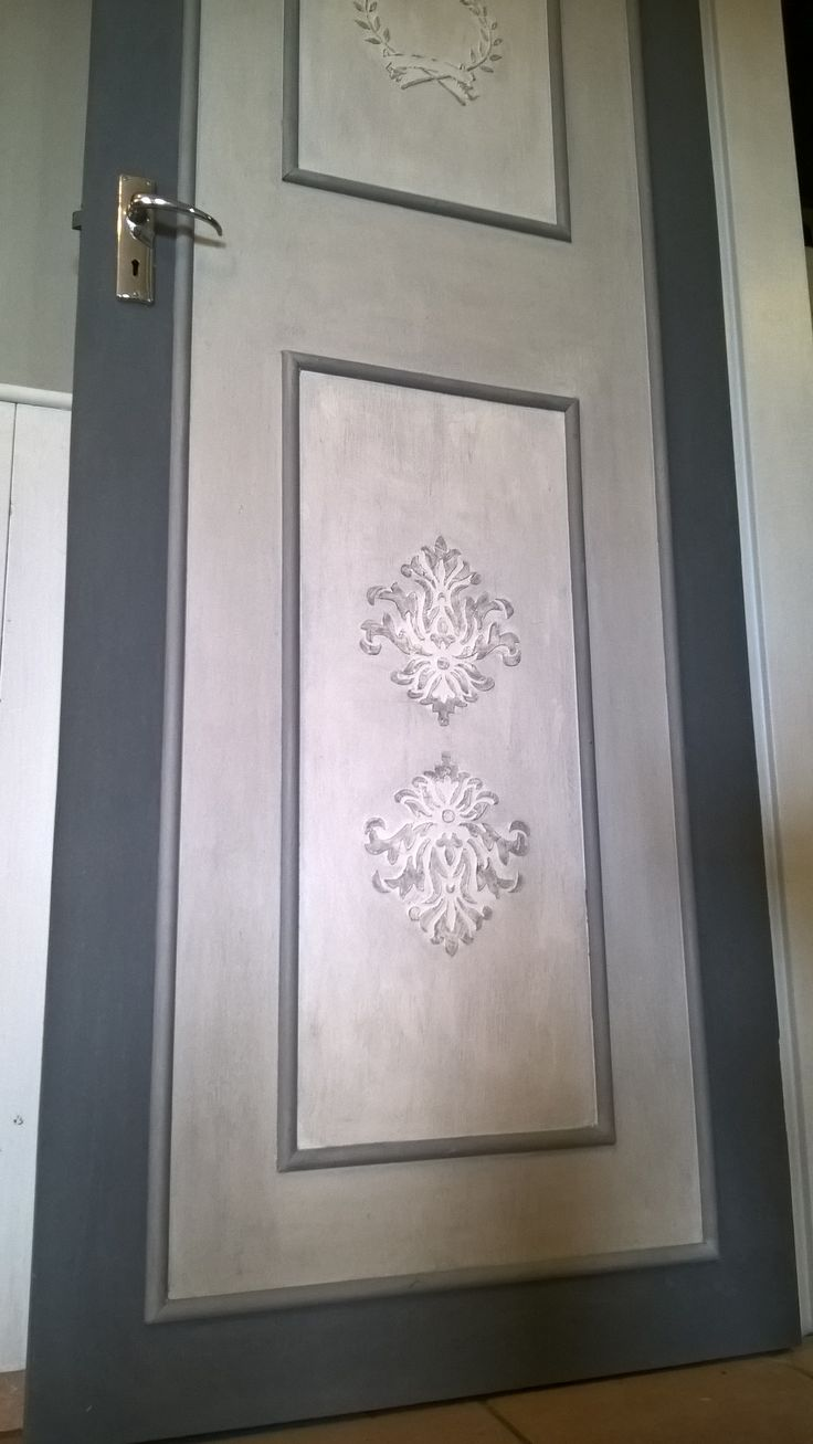 "Door between Dining room and Kitchen ""Chalked Up"" with Granny B paint, stencils & embossing paste"
