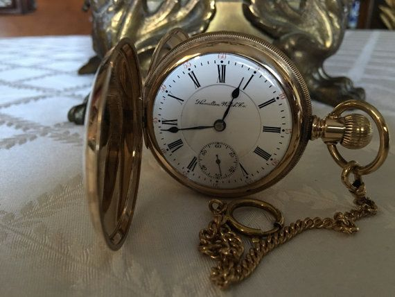 Antique Hamilton pocket watch 927 Hunting by EcclectiCities