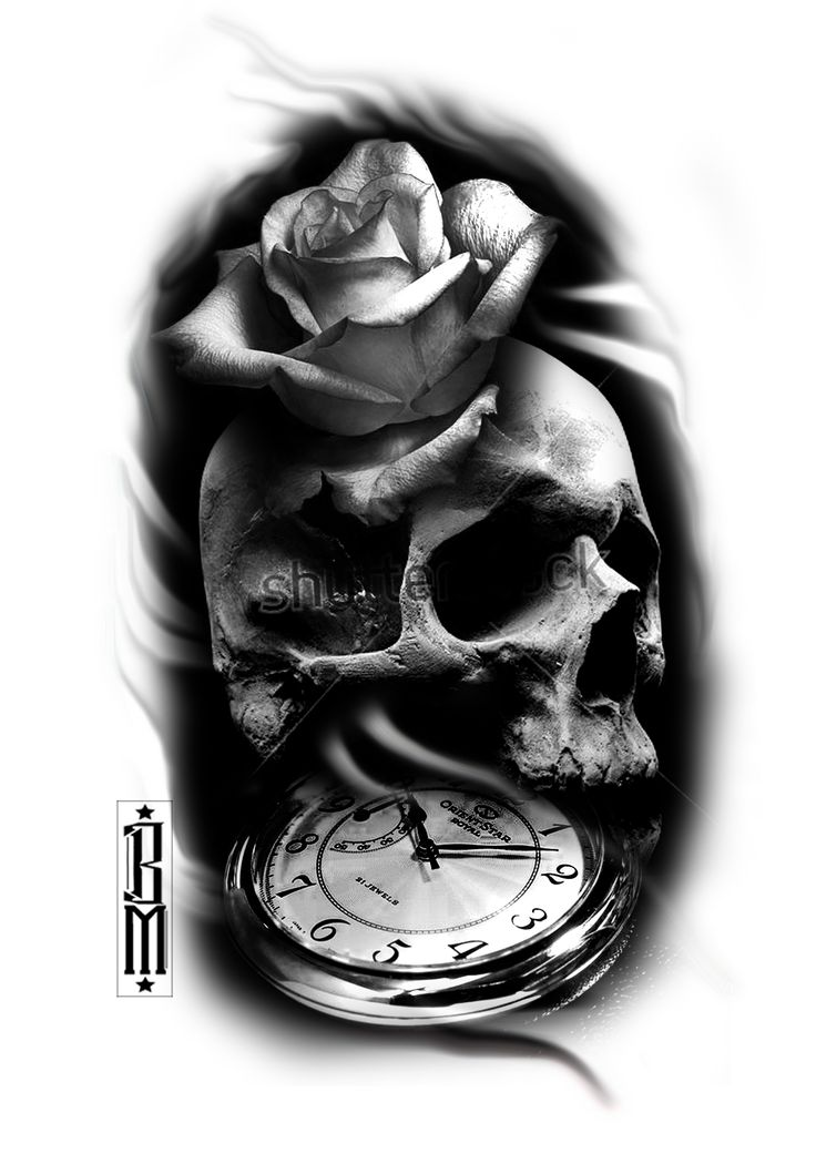 skull rose clock black and grey tattoo sleeve ideas designs design sleeve time pocket watch