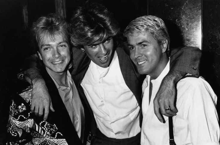 Singers (L-R) David Cassidy, George Michael and Mike Nolan, at the premiere of the film 'Number One', London, April 22nd 1985.