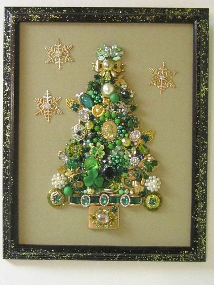 VINTAGE FRAMED JEWELRY CHRISTMAS TREE IRISH SHAMROCKS RHINESTONES CAMEO