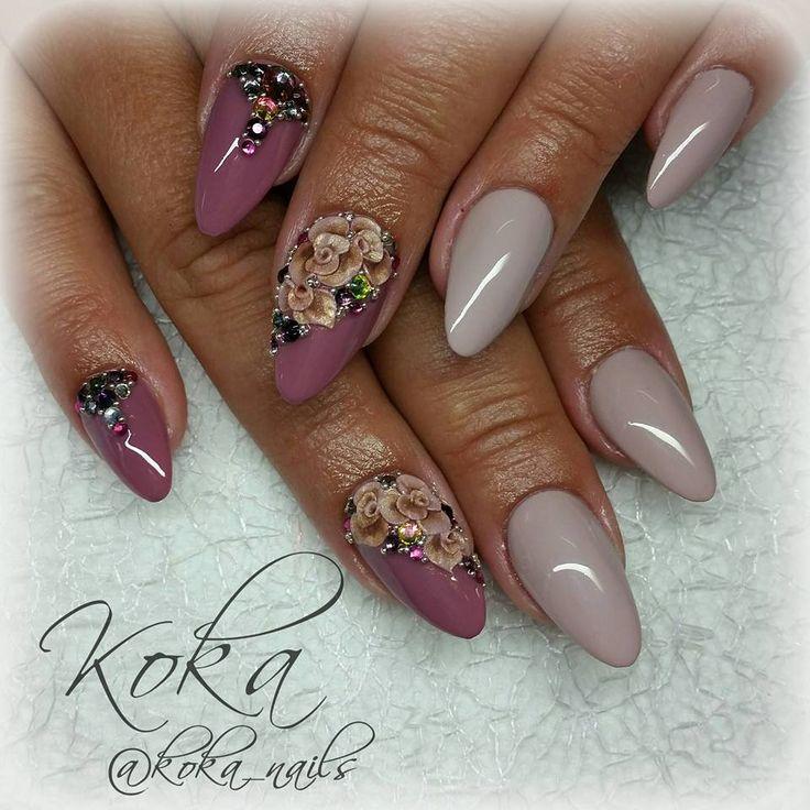 Pink nails with roses (Růžové nehty s růžemi) Author: KOKA nails - Kateřina Kostuchová