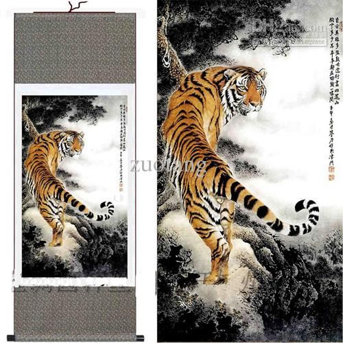 Wholesale Chinese Silk Paintings Tiger Hanging Scroll Decoration Art For Sale Free, $25.08-42.18/Piece | DHgate