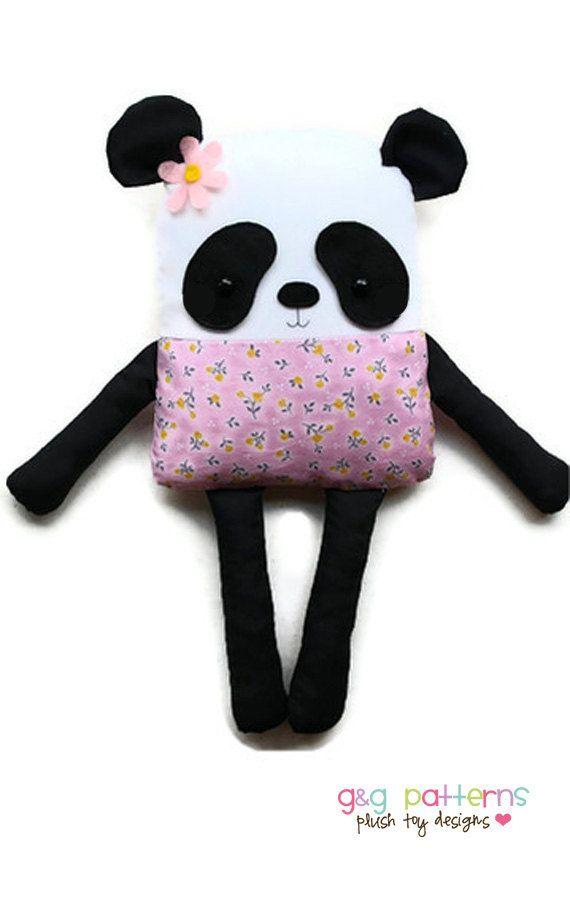 Panda Bear Sewing Pattern Bear Doll Softie Plush by GandGPatterns