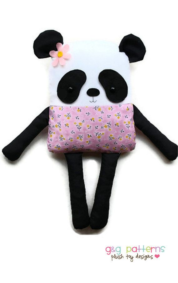 Panda Bear Sewing Pattern Bear Doll Softie Plush by GandGPatterns