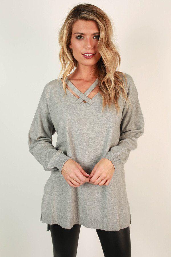 Keep A Secret Tunic Sweater in Grey