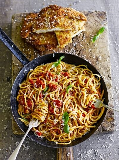 Chicken milanese with spaghetti
