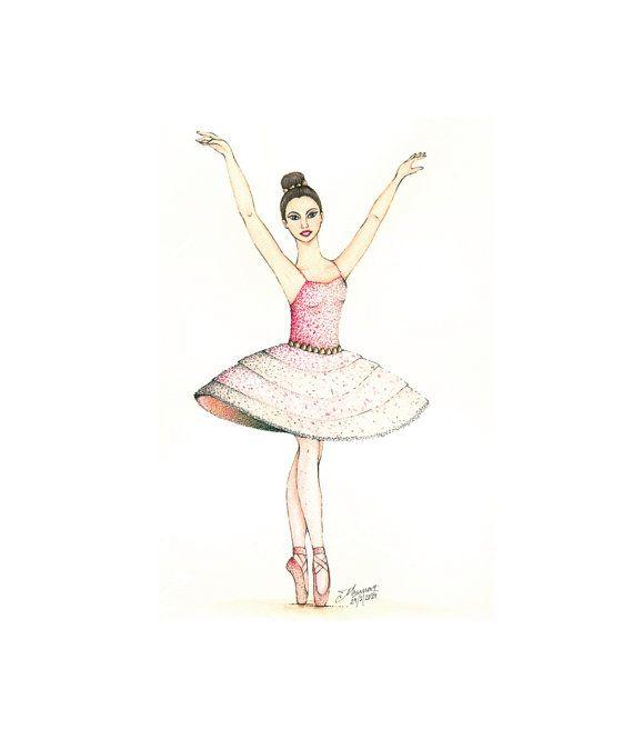 Ballerina watercolor print  A4 8 x 10 5 x 7  by Kalatirth on Etsy