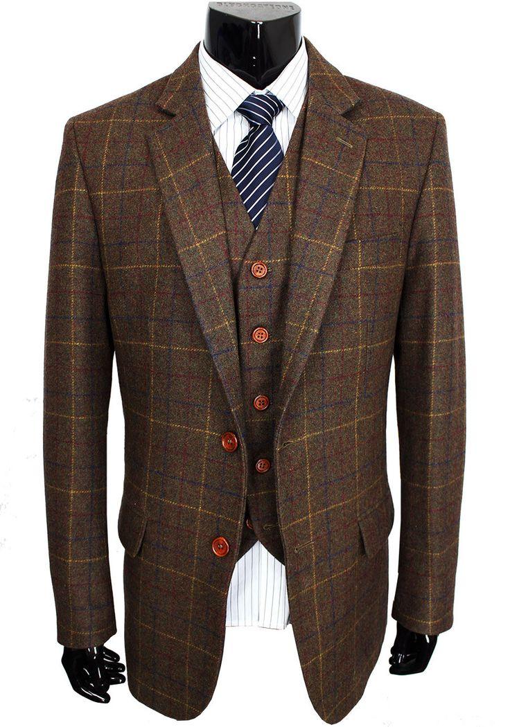 Men Woollen Brown Classic Tweed Blazer. Tailor Custom Made Wedding Suit, Slim Fit, 3 Piece Suit
