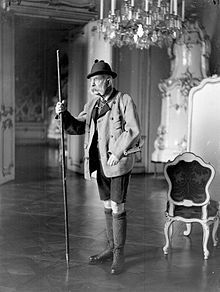 Emporer Franz Josef I, portrayed as a hunter with mountain stock. 1910  Hiking Pole - Wikipedia  -