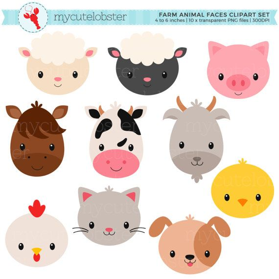 Farm Animal Faces Clipart Set - animal faces, farmyard, farm, cow, chicken, goat, cat - personal use, small commercial use, instant download