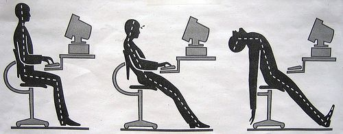 Sit up straight: Make sure you are straight up in your chair with your back flat against the back and your feet on the ground.