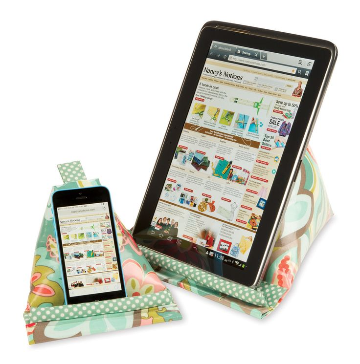 Prop up your iPad, tablet, or cell phone–hands-free–in the cradle area of this Hold-It Sack! These tablet stands, or iPad Pillows, are made from laminated fabric and are ideal to use throughout you...
