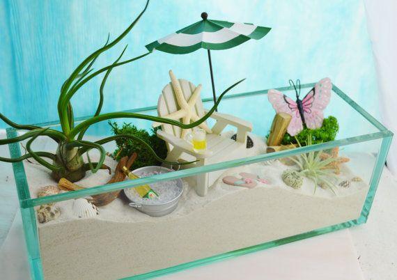 "The Perfect Beach ~ 12"" Glass Rectangle Planter ~ Beach Chair and Umbrella ~ Beer or Wine ~ Air plants ~ Beach Decor ~ Gift Idea"