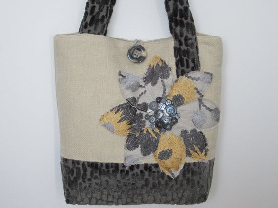 Womens Grey Handmade Fabric Tote Bag Large by BerkshireCollections - Summer, Spring or Fall this Tote Bag is seasonless