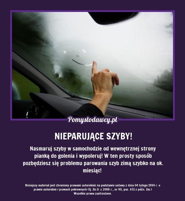 Nasmaruj szyby w samochodzie od wewnętrznej strony pianką do golenia i wypoleruj! W ten prosty sposób pozbędziesz się problemu parowania szyb zimą szybko na ok. miesiąc!