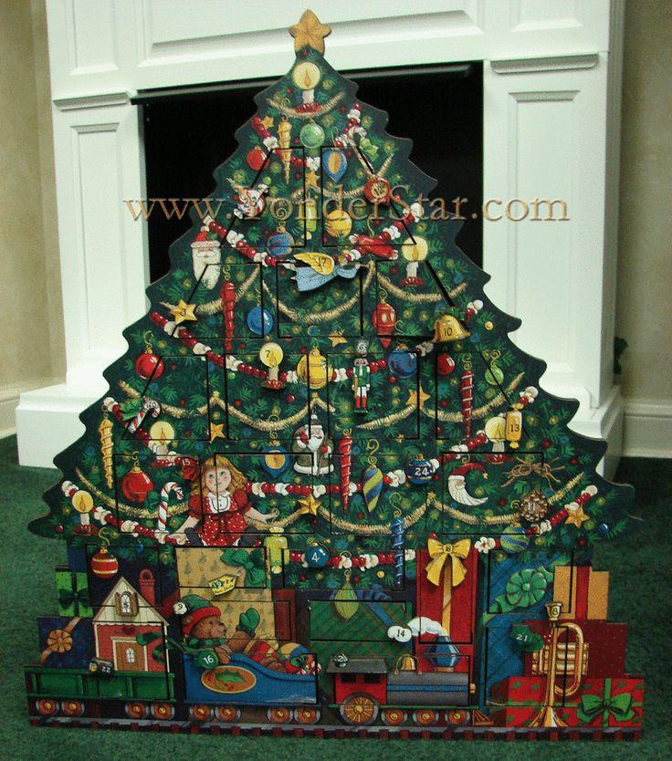 Heirloom Wooden Advent Calendar Christmas Tree Wooden