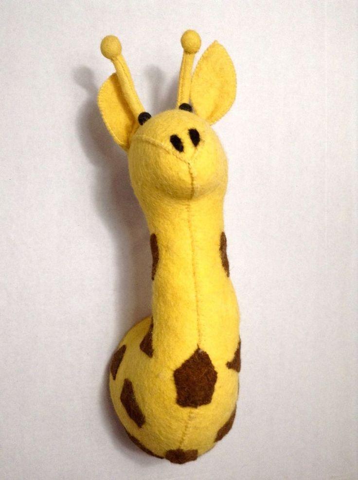 Stuffed Animal Wool Giraffe Head Felt 3D Wall Mounted Hanging Kids Room Decor #CupcakesCartwheels #Kids