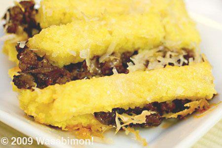 Layered Polenta Pie with Mushrooms and Sausage Italian Food Recipe