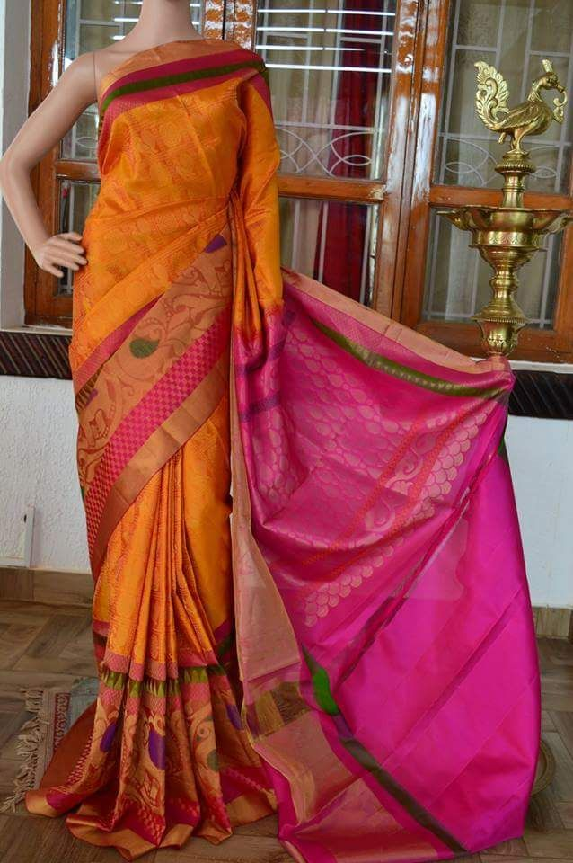 Exotic Mustard Yellow soft silk saree with zari motifs on all over the saree wtih double side border followed by pink rich pallu. Whatsapp: 91 7019277192