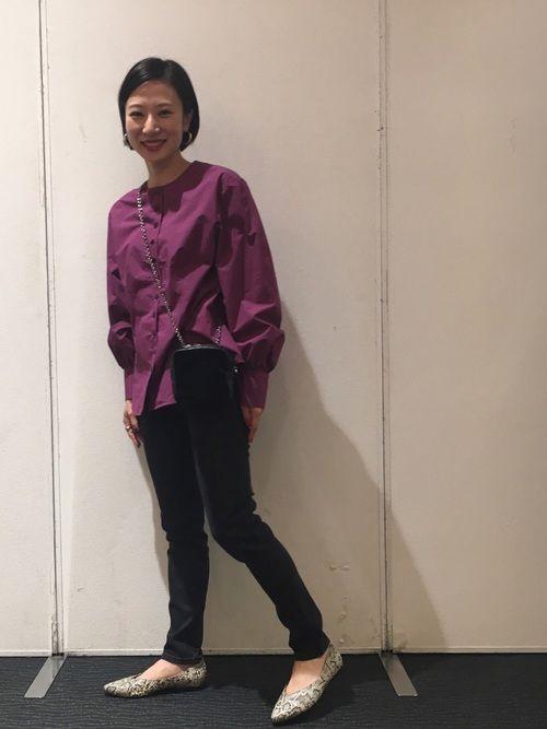 Steven Alanノーカラーシャツはウエストのシェイプが女性らしい雰囲気を演出してくれます★ 京