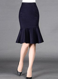 Blue Peplum Slim Knee-Length Mermaid Skirt