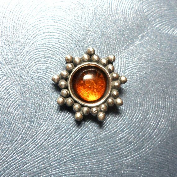 Large Sterling Silver Amber Sun Microdermal by Starseedcharms, $17.00