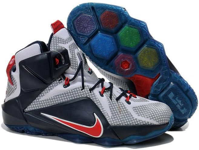 Air LeBron James 12 Varsity Red with White and Navy Blue Mens Ba