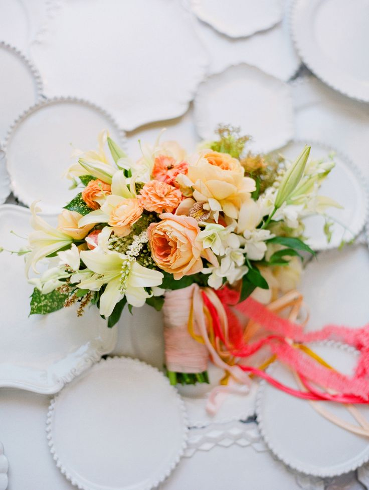 Bright ribbon + peachy blooms: http://www.stylemepretty.com/collection/2871/