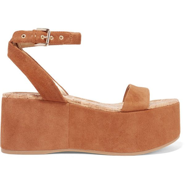 Sam Edelman - Henley Suede Wedge Sandals (207975 PYG) ❤ liked on Polyvore featuring shoes, sandals, tan, tan wedge sandals, sam edelman sandals, platform wedge sandals, tan platform sandals and strappy wedge sandals