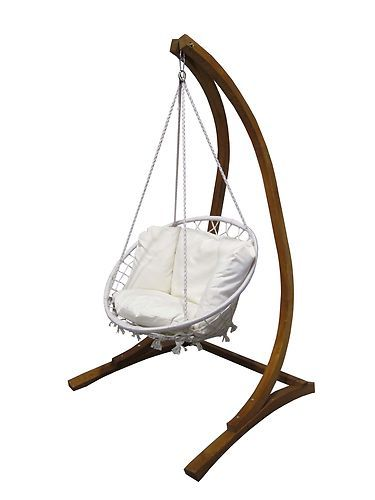 Wood Wooden Curved Free Standing Swing 3 yr Warranty Rope ...